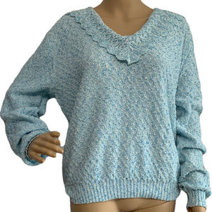 Vintage Blue Boucle Sweater Centennial Knits M